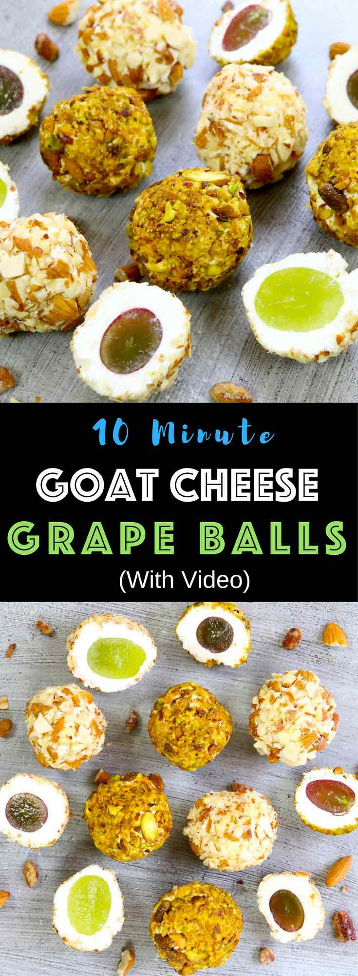 Super easy Goat Cheese Grape Balls – elegant appetizer that takes 10 minutes to prepare. Watch our video tutorial to see how to make them. Alt: Super easy Goat Cheese Grape Balls – elegant appetizer that takes 10 minutes to prepare. All you need is only a few simple ingredients: grapes, cream cheese, goat cheese, pistachios, and almonds. Quick and easy appetizer. Party food. Video recipe. | Tipbuzz.com