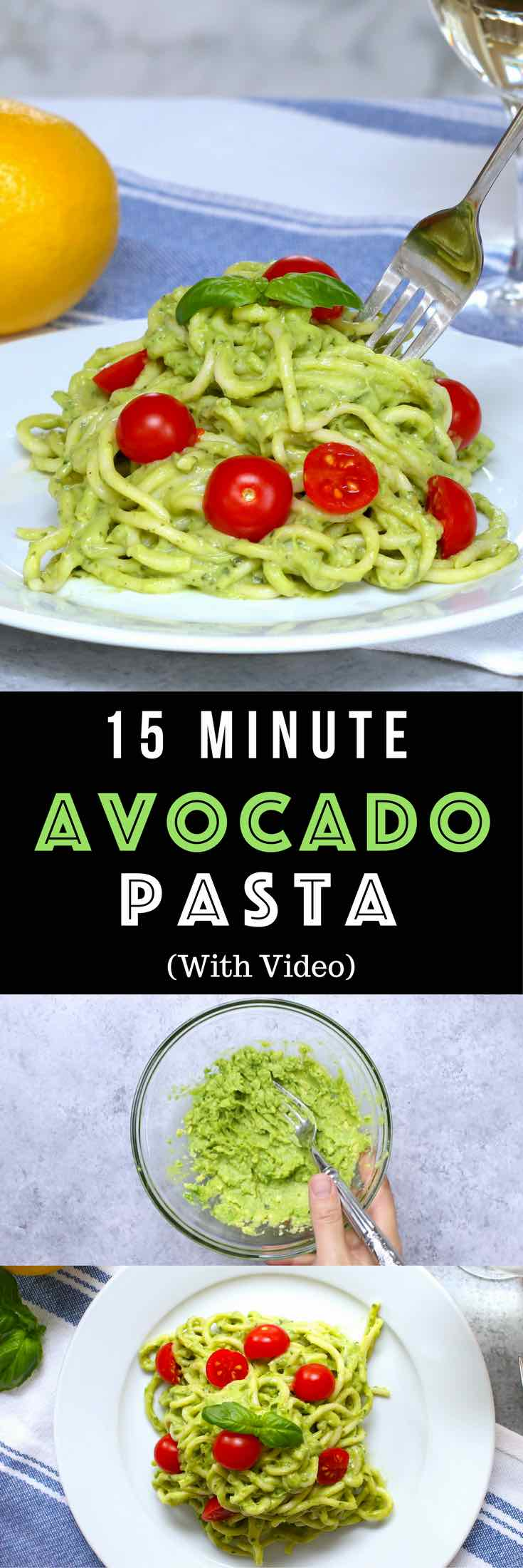 Easy, healthy, and on the table in about 15 minutes! Cream Avocado Pasta is the easiest and best avocado sauce pasta. All you need is a few simple ingredients: spaghetti, ripe avocados peeled and halved, fresh basil leaves, lemon, salt and pepper, olive oil and cherry tomatoes. Quick and easy lunch or dinner recipe. Eat without guilt. Vegetarian. Video recipe. | Tipbuzz.com