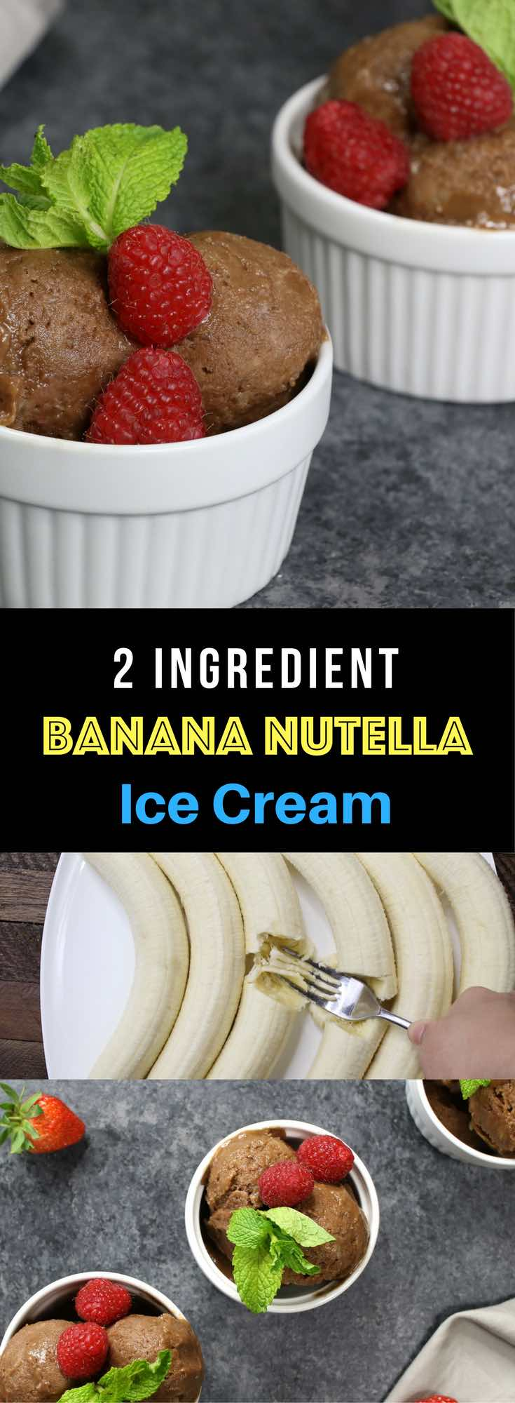 2 Ingredient Nutella Banana Ice Cream – Simple kid friendly ice cream with only 2 ingredients: Nutella and banana. What goes together better and chocolate and banana? No churn. No equipment is needed and only takes 5 minutes to prepare. It is easiest ice cream you will ever make! Video recipe.