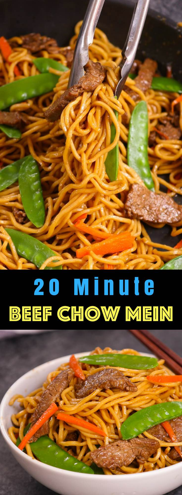 This Beef Chow Mein is a quick and easy one pot meal loaded with tender beef, flavorful vegetables and fried noodles. It comes together in just 20 minutes for a delicious weeknight dinner the entire family will love...#BeefChowMein