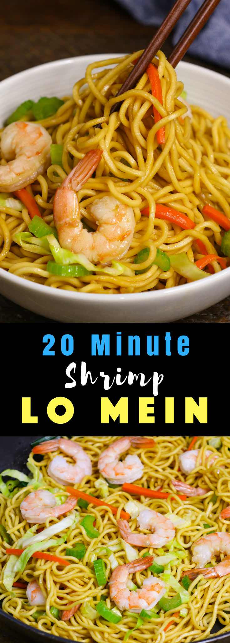 This Garlic Shrimp Lo Mein is loaded with succulent shrimp, fresh vegetables and lo mein noodles. It comes together in about 20 minutes and is so much better than takeout. Simple, fast and delicious!
