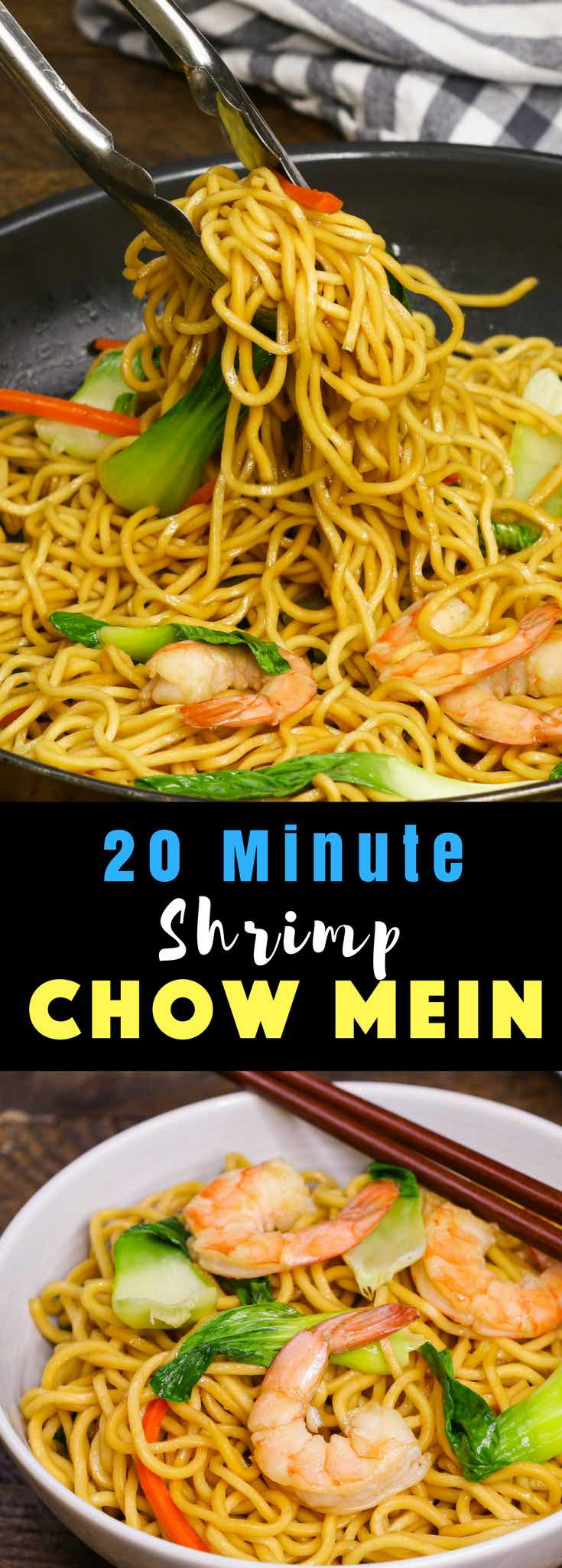 This Shrimp Chow Mein is a quick and easy one pot meal, loaded with sizzling shrimp, flavorful vegetables and fried noodles. It's so delicious and you will find yourself making it again and again as a quick weeknight dinner! #ShrimpRecipe #ChowMein #ShrimpChowMein