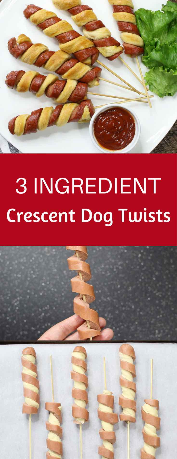 3 Ingredient Crescent Dog Twists – a super easy and kid friendly snack that comes together in minutes and is a guaranteed hit. All you need is 3 simple ingredients: hot dogs, crescent roll dough and egg wash. It's great for parties and is so yummy! Video recipe. | tipbuzz.com