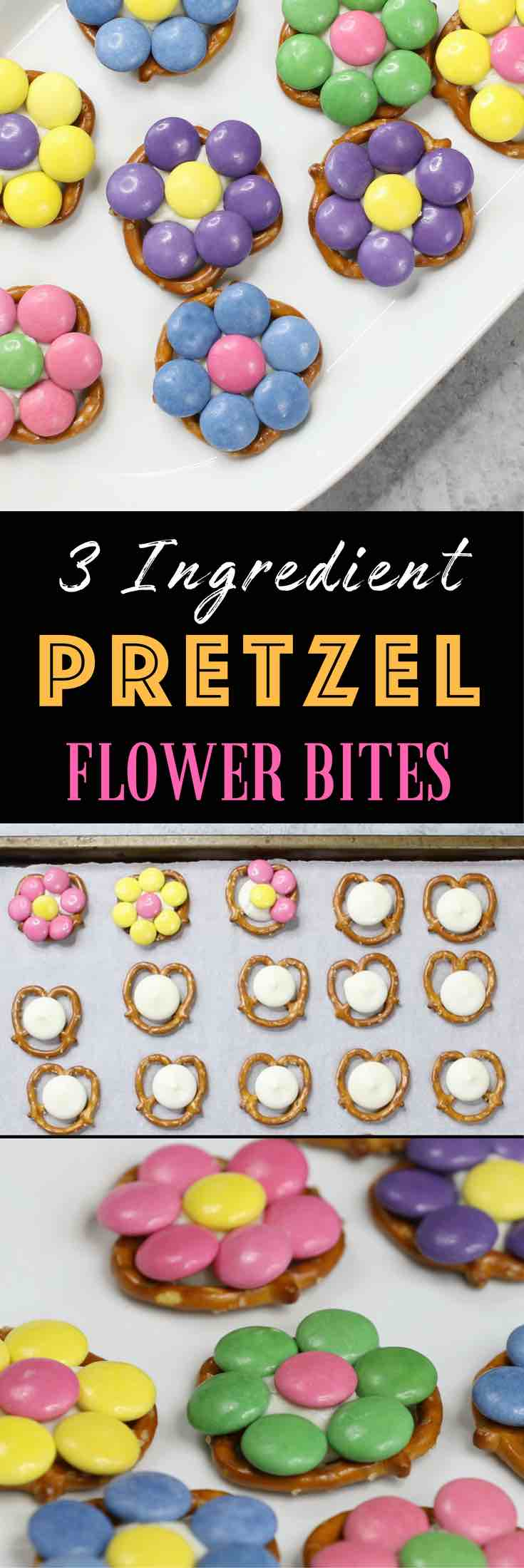 Pretzel Flower Bites – the perfect bite-sized sweet, salty, crunch and yummy snacks! It's so easy to make and comes together in 10 minutes. All you need is only 3 ingredients: pretzels, white candy melt and M&M candy (or Smarties). These are great treats for Easter, Mother's Day, spring parties, birthdays or baby showers. Quick and easy recipe. Vegetarian. Video recipe. | Tipbuzz.com