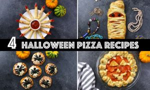 Here are 4 Halloween Pizza ideas for some spooky fun for a party - easy to make and everyone will love them