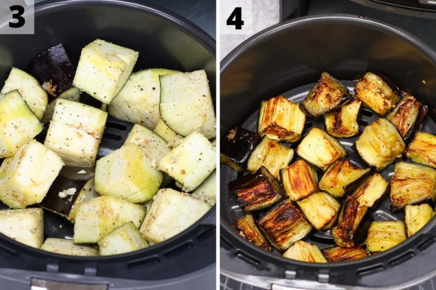 Air fryer eggplant recipe: step 3 and 4 photos.