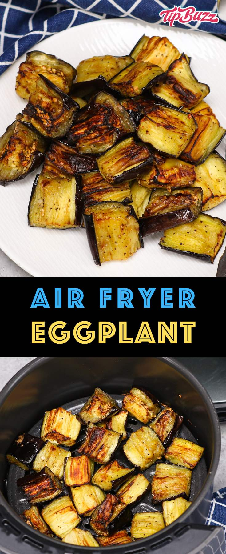 This Air Fryer Eggplant is a healthy and flavorful side dish that's ready in under 20 minutes! Keep reading to learn how to roast eggplant in an air fryer quickly and easily. #AirFryerEggplant