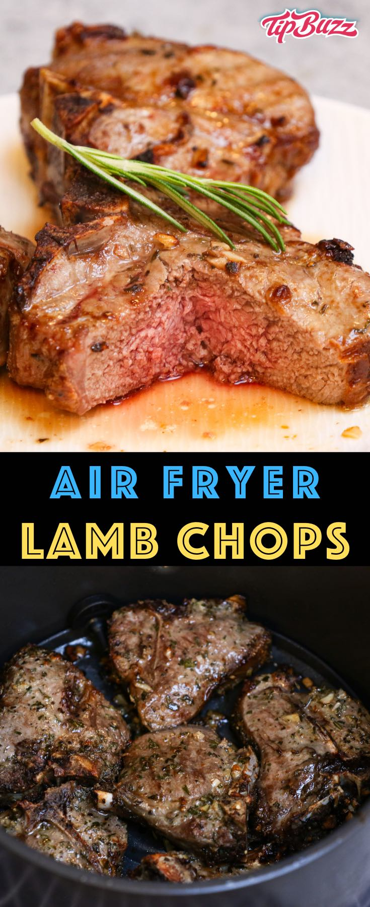 These Air Fryer Lamb Chops are juicy and flavorful with a crispy crust. This easy recipe is the fastest way to cook lamb chops, cutlets or a rack of lamb. They marinate briefly in garlic, rosemary and olive oil before cooking for just 10-12 minutes at 400°F! #AirFryerLambChops