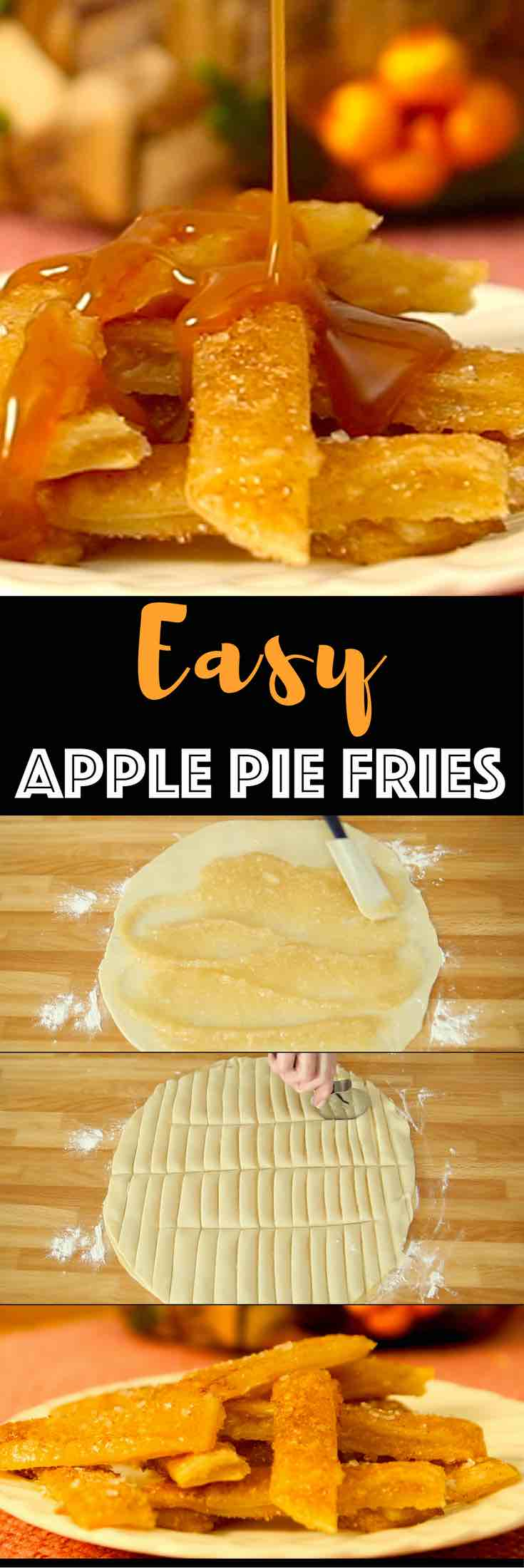 The Most Incredible Baked Apple Pie Fries: Delicious, crispy and healthy apple fries tossed with cinnamon sugar and baked to perfection golden brown color, drizzled with caramel sauce! All you need is a few simple ingredients: store bought pie crust, apple pie filling, cinnamon and sugar, nutmeg and milk. Quick and easy recipe, party desserts. Vegetarian. Video recipe.   Tipbuzz.com