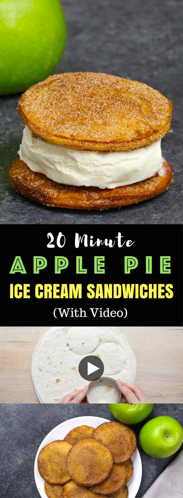 Super easy Apple Pie Ice Cream Sandwiches - Delicious cinnamon sugary apple pie with ice cream in between. A super easy recipe using flour tortillas and comes together in no time! All you need is a few simple ingredients: Flour Tortillas, butter, cinnamon, sugar, apples, lemon, egg and ice cream. Quick and easy recipe. Great for party dessert and holiday brunches. Video recipe. | Tipbuzz.com