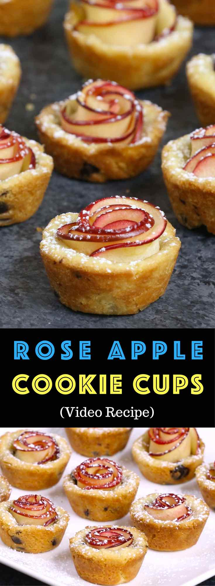 Easy Rose Apple Cookie Cups – Delicious desserts that also look gorgeous. Fun recipe to make with kids. So beautiful! Quick and easy recipe. Vegetarian. Video recipe. #roseapple #applerose