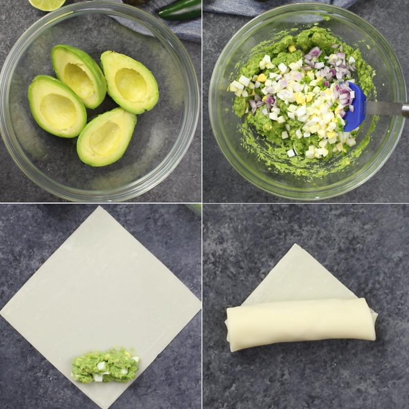 This graphic shows how to prepare avocado egg salad filling for bacon-wrapped spring rolls