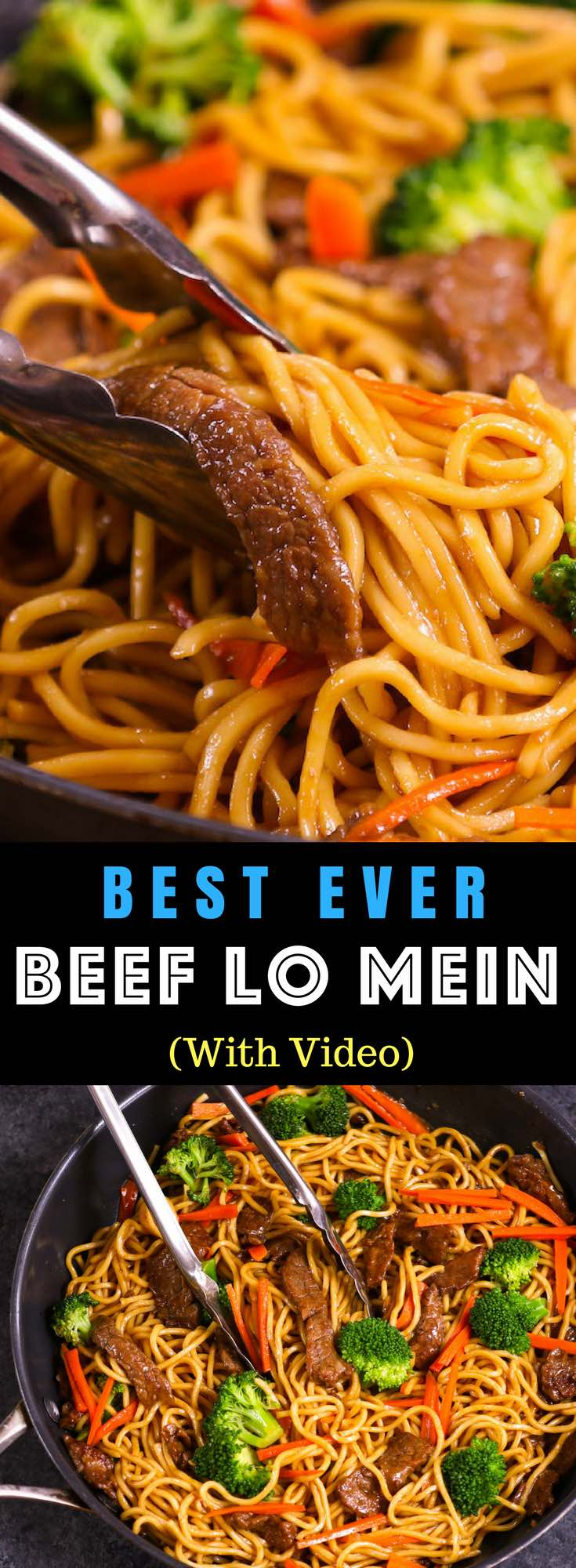 This Garlic Beef Lo Mein is a quick and easy version of classic Chinese dish. It's so much better than takeout and seriously addictive with tangy garlic and soy sauce flavors, the perfect weeknight dinner idea you can make in 20 minutes! All you need is only a few ingredients: flank steak, lo mein noodles, garlic, carrots, broccoli, sesame oil, soy sauce, hoisin sauce, ginger and brown sugar. Video recipe. | Tipbuzz.com #LoMein #BeefLoMein