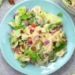 BLT Pasta Salad is a fabulous as a side dish or main course at a party or picnic, made with cooked pasta, bacon, vegetables and a creamy dressing. And it's ready in just 15 minutes!