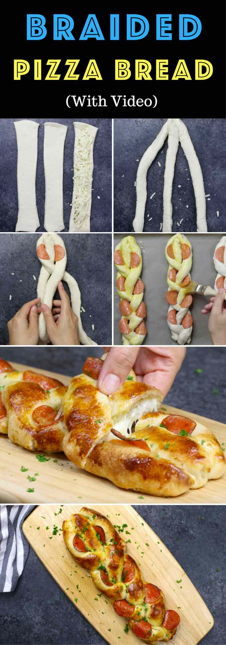 Braided Pizza Bread - a delicious appetizer for sharing on game day or a party, easy to make with a few simple ingredients: refrigerated pizza dough, olive oil, italian seasoning and pepperoni with fresh parsley for garnish. So good. Video recipe.