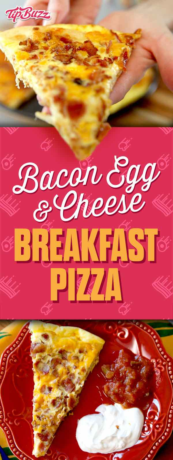 Bacon Egg & Cheese breakfast pizza. It's so easy! All you need is refrigerated pizza dough, eggs, bacon and cheese. Perfect for brunch at home. Video recipe | tipbuzz.com