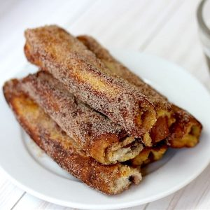 Bacon Stuffed French Toast Rollups are a delicious breakfast or brunch recipe that's easy to make!