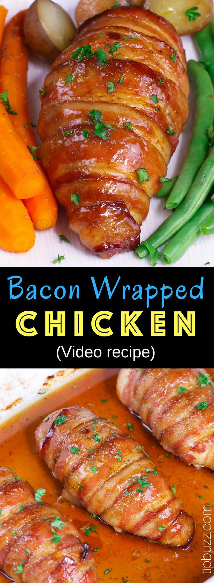 Brown Sugar Bacon Wrapped Chicken Breasts: a simple recipe that everyone will love. Chicken is rubbed with brown sugar and seasonings, wrapped in bacon and baked to golden crispy perfection! So juicy and flavorful. Quick and Easy Dinner. Video Recipe #BaconChicken #BaconWrappedChicken