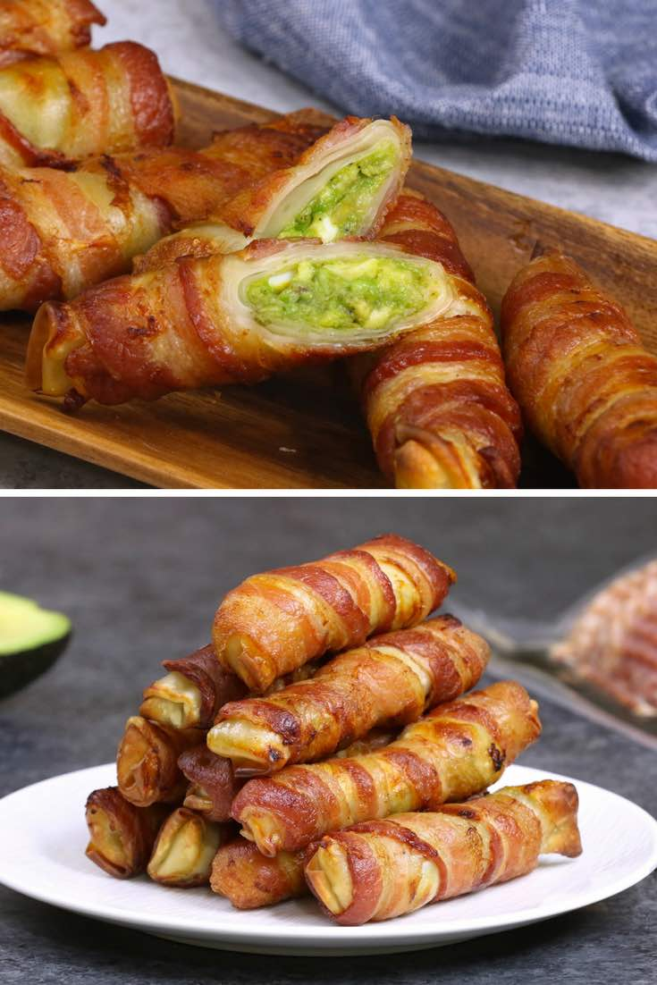 Bacon-wrapped Spring Rolls – filled with avocado, eggs, red onion, jalapeno, salt and pepper and wrapped in bacon, then baked until crispy. Easy to make for breakfast or brunch and great as a grab-and-go option for busy weekday mornings. Video recipe. AD