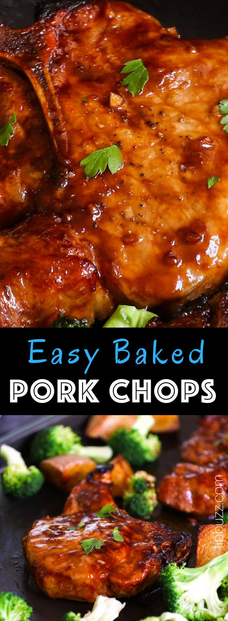 Baked Bone-in Pork Chops are juicy, tender, sticky and garlicky.  They are full of flavor and really easy to make. The perfect and never-dry pork chops with restaurant quality can be easily achieved with a few simple tips. #PorkChops #BakedPorkChops #BoneInPorkChops