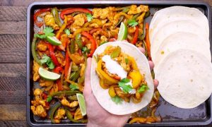 Baked Chicken Fajitas - this delicious one pan dinner is made in the oven using a sheet pan for an easy and healthy meal.
