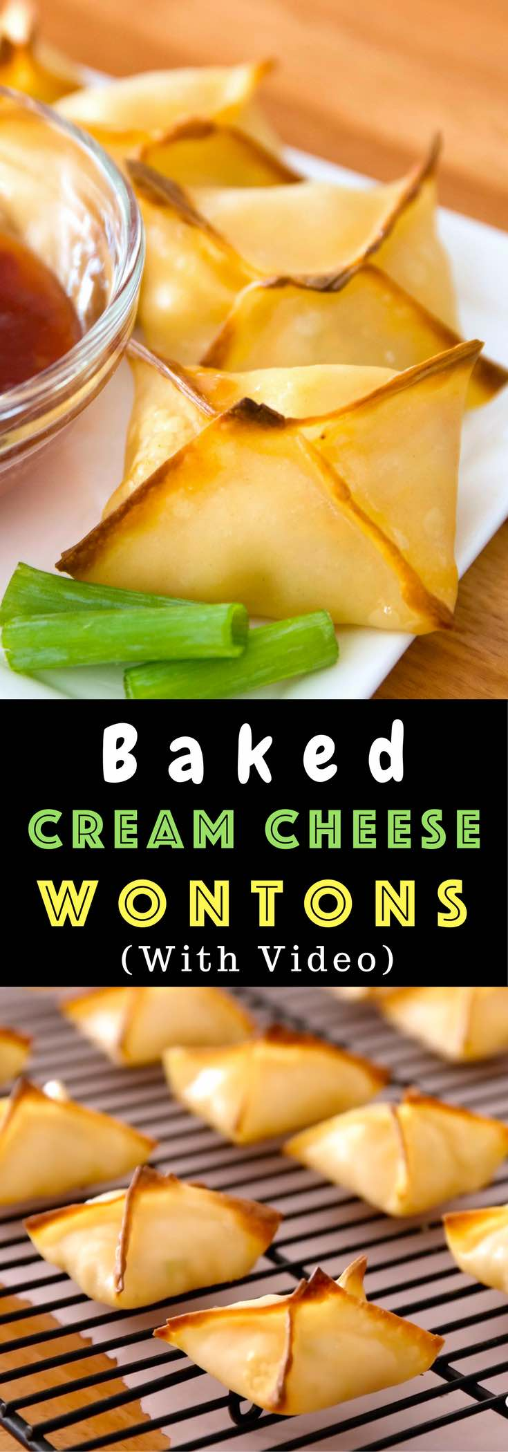 Easy Baked Shrimp Wontons – delicious crispy and creamy Cream Cream Cheese Wontons baked to perfect golden brown. They are so easy to make! Quick and easy recipe. Video recipe.