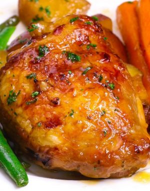 Baked honey garlic chicken with carrots, green beans and potatoes