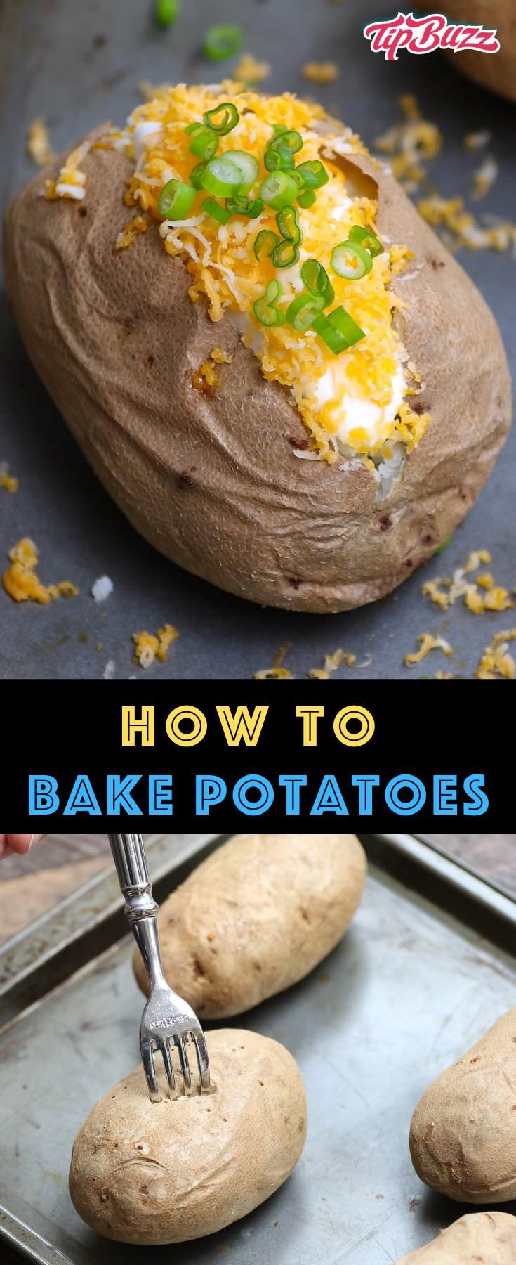 Make the perfect baked potato that's soft and fluffy with crispy skin! This easy recipe includes tips on how long to bake a potato for every oven temperature! #bakedpotato