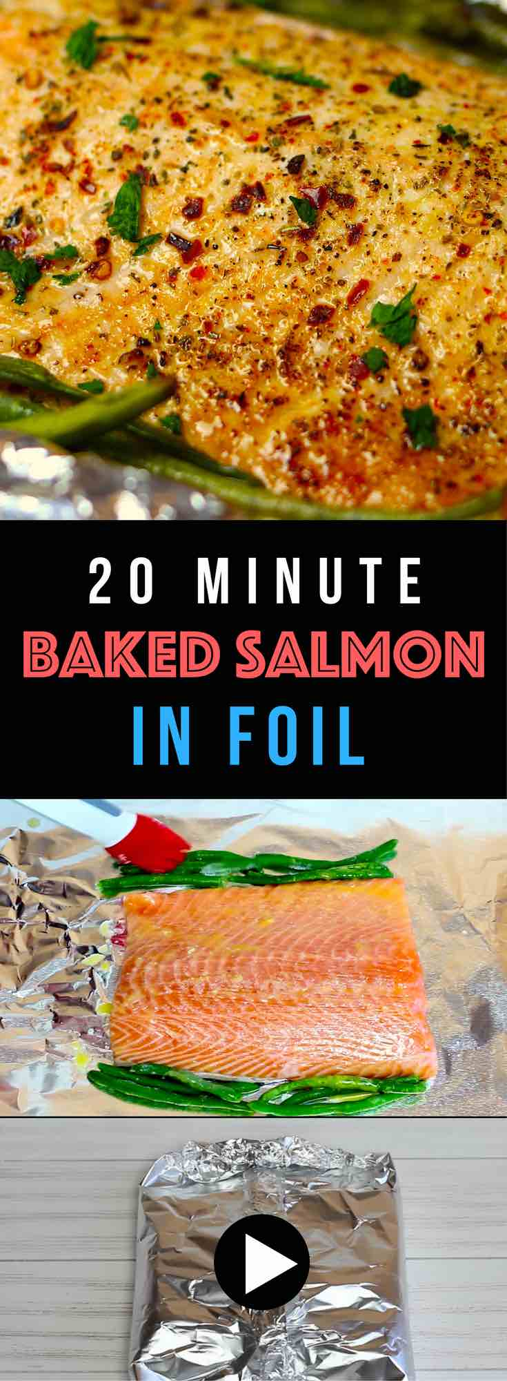 Healthy and easiest dinner ever! Salmon and green beans are baked in foil, which makes it moist, tender, and flakey. Plus clean up is a breeze! Only a few simple ingredients needed: Salmon, green beans, butter, lemon juice, Italian seasoning, salt & pepper, red pepper flakes and parsley for garnishing. Healthy, Quick and Easy recipe. Video recipe. | Tipbuzz.com