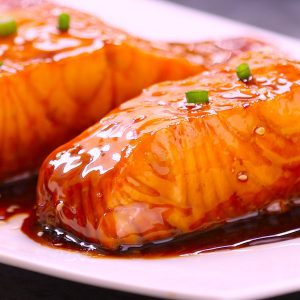 Baked Salmon with Honey and Garlic