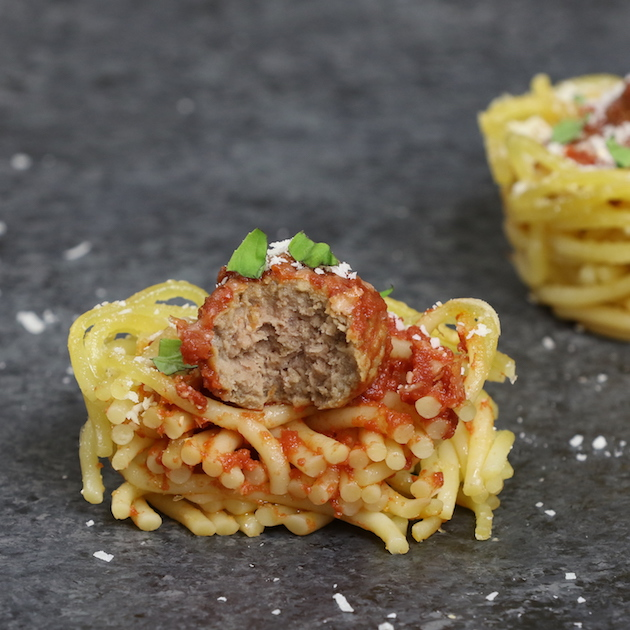 These spaghetti and meatball cups are a delicious baked appetizer that's perfect for a party