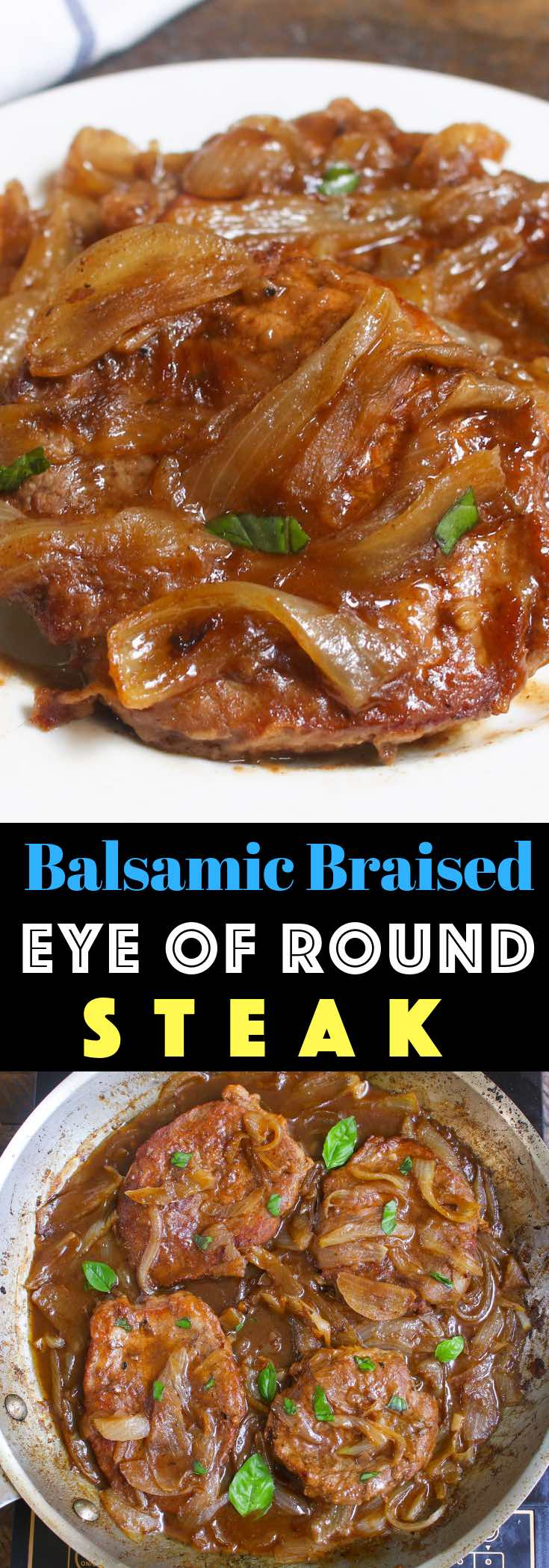 These Eye of Round Steaks are cooked low and slow until they reach fork-tender deliciousness! This simple Eye of Round Recipe is a classic where the braising method tenderizes lean and tough meat into mouth-watering pieces.