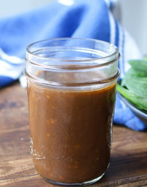 Homemade Balsamic vinaigrette stored in a mason jar
