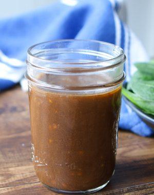 Homemade Balsamic vinaigrette stored in a mason jar