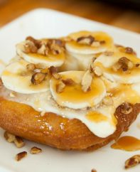 There's nothing better than Banana Pecan Donuts with caramel sauce on top for a quick and easy snack