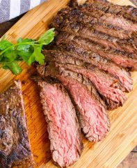 Sliced bavette steak