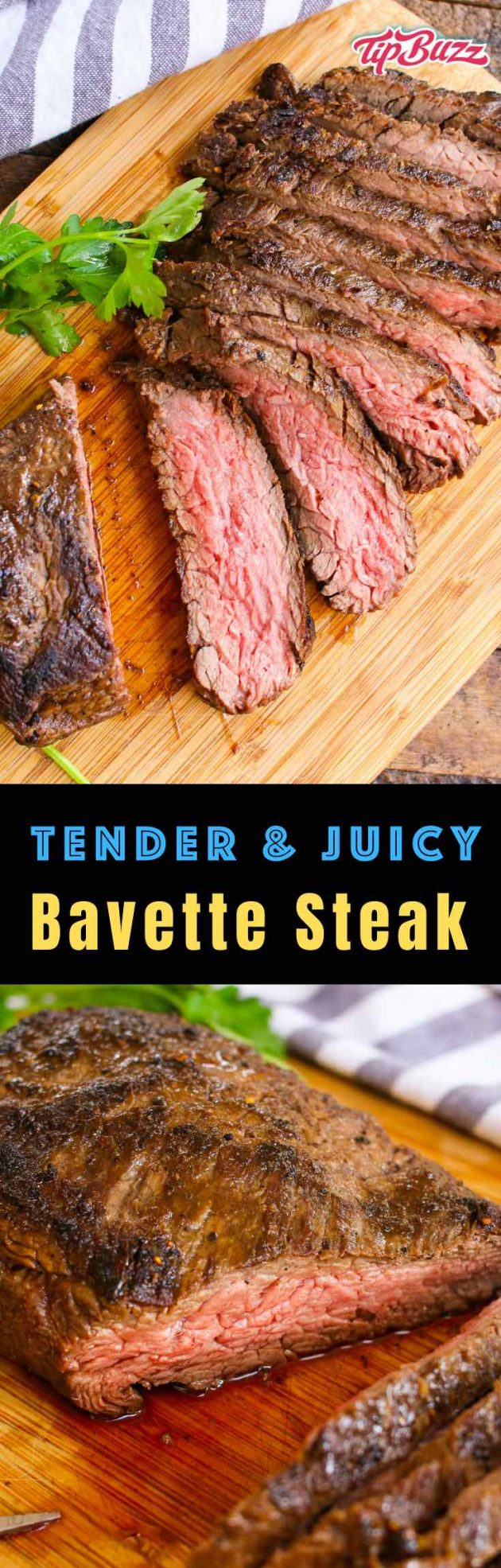 Bavette Steak is a flat cur of beef from the bottom sirloin juicy cut from the bottom sirloin that's tender, juicy and flavorful. You can cook it with or without marinating for a delicious dinner that's easy to prepare and budget friendly! #bavette