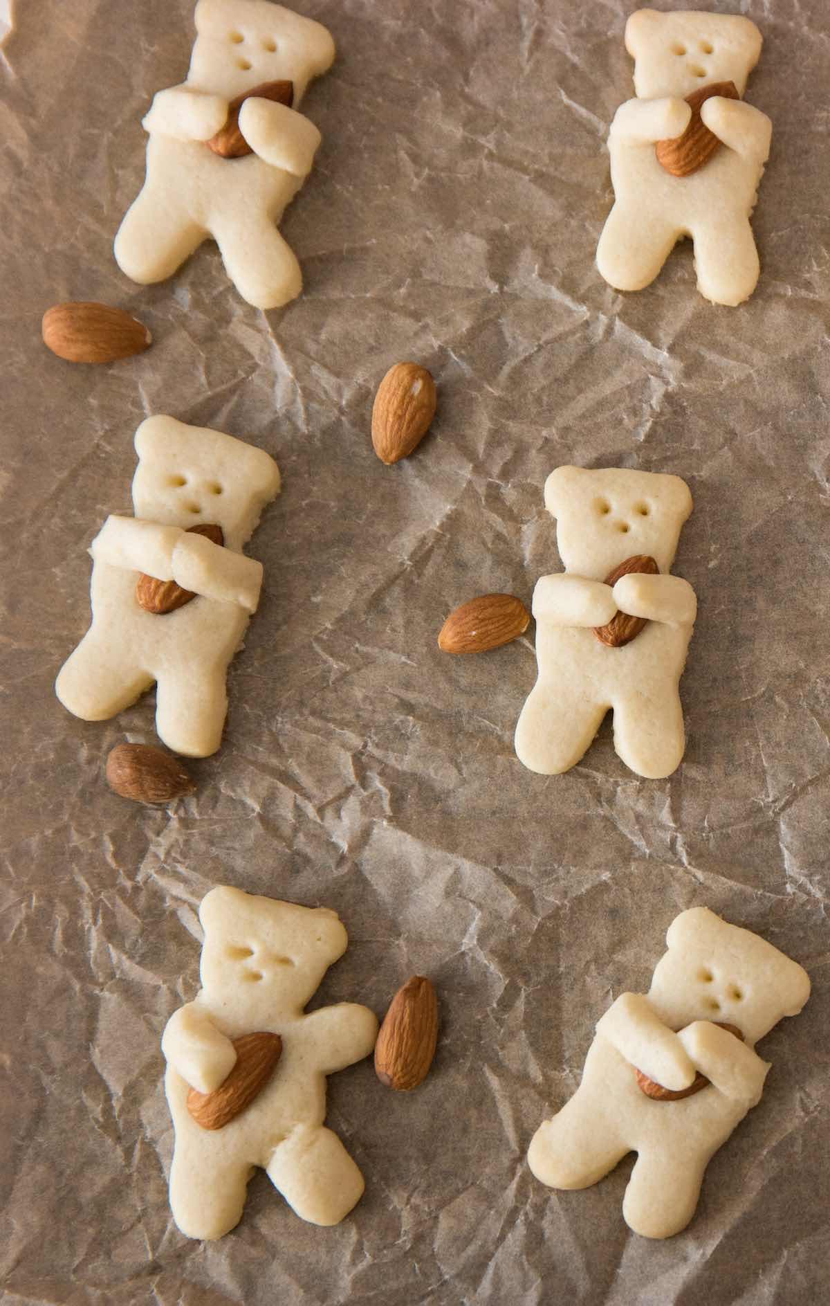 Bear cookies on a baking sheet