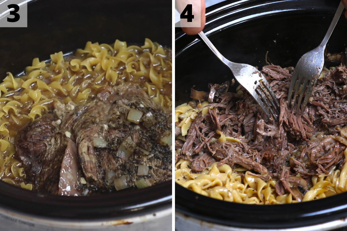 Adding egg noodles and shredding the beef with two forks