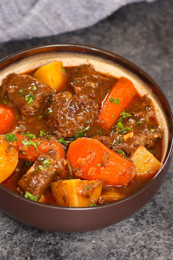 Serving of homemade beef stew in a bowl