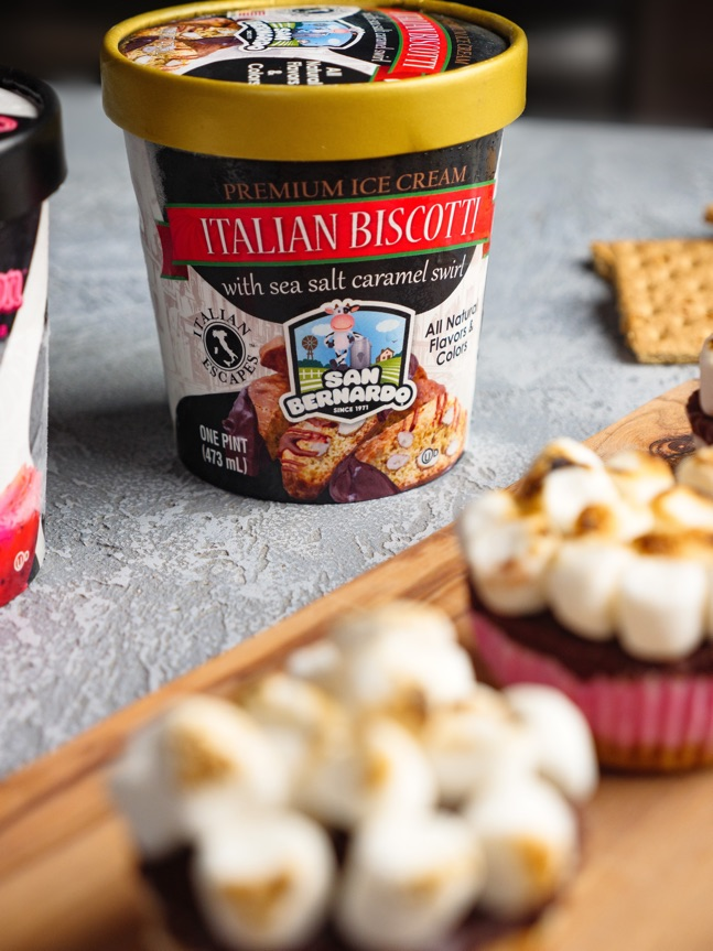Biscotti Flavored Ice Cream Smores Cupcakes