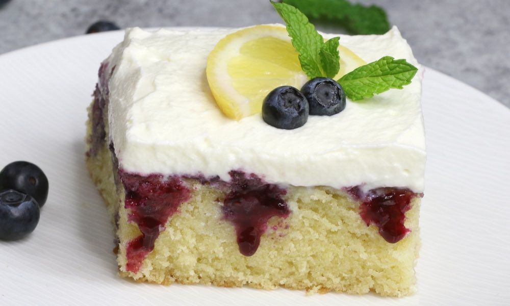 Easy Blueberry Lemon Poke Cake