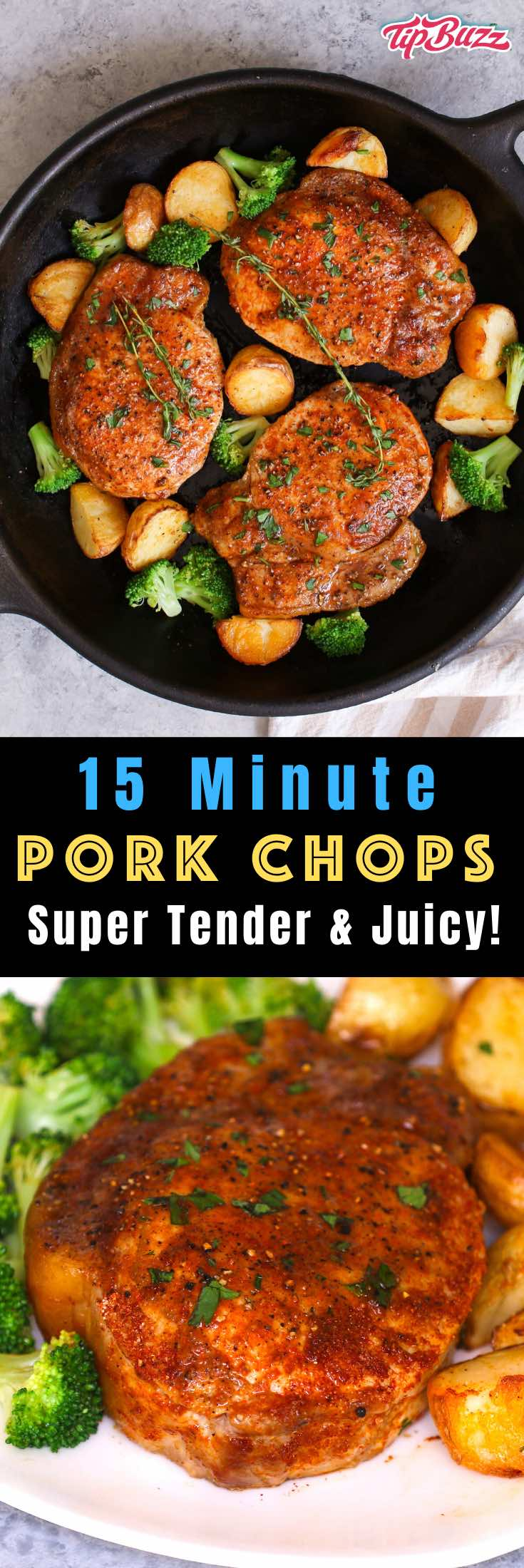 These pan-fried Boneless Pork Chops are a juicy and flavorful meal that'll be on your table in just 15 minutes, with no marinating or breading required. Perfect for a quick weeknight dinner!