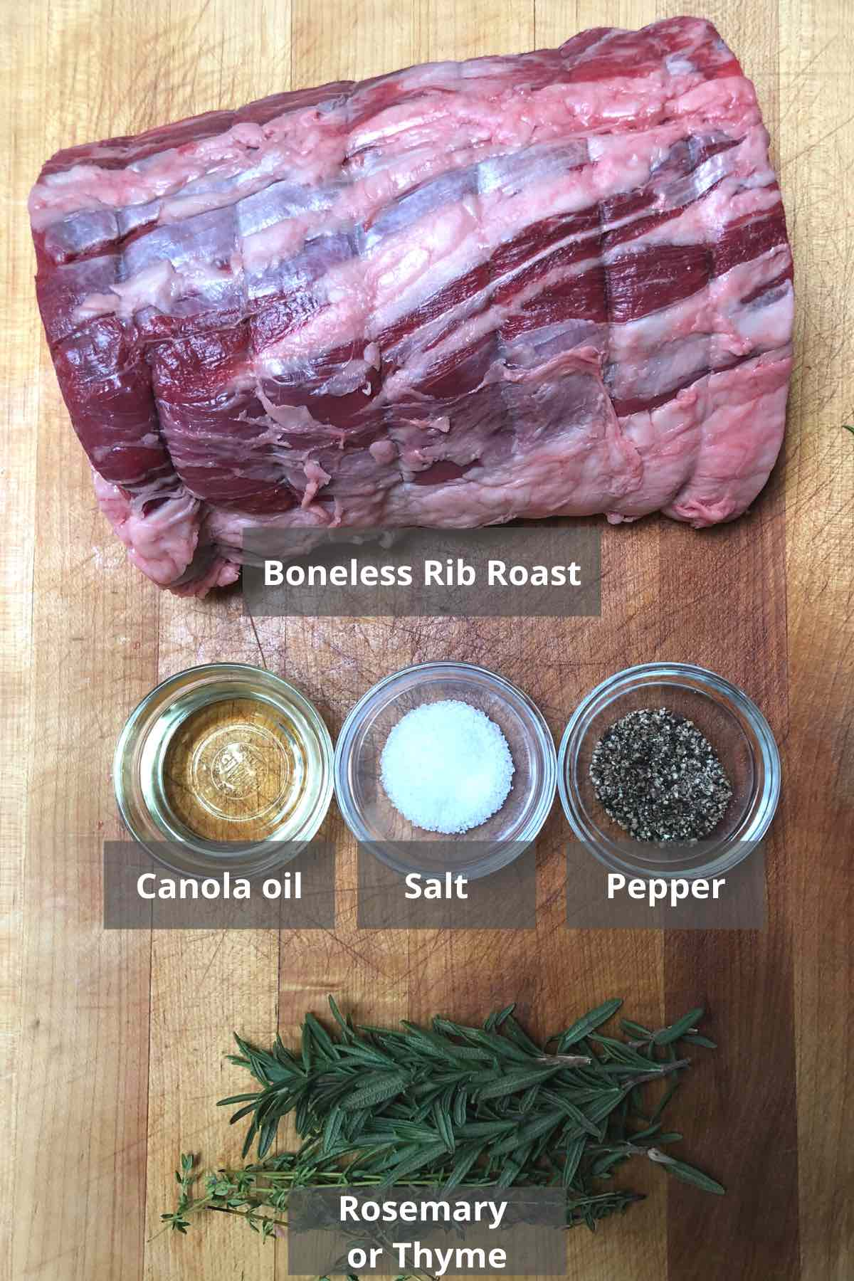Ingredients for making a boneless prime rib roast