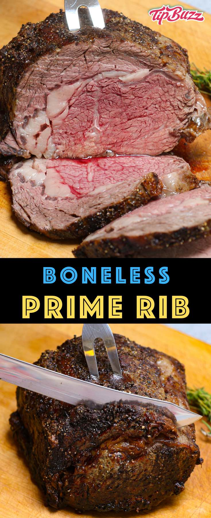 This Boneless Prime Rib is roasted to perfection in the oven for tender and juicy meat that melts in your mouth! This boneless rib roast is an easy main course for holiday entertaining or any celebration! #primerib #bonelessribroast