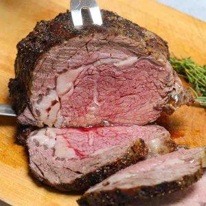 Boneless prime rib cooked medium