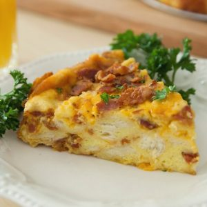 This Bacon, Egg and Cheese Breakfast Strata is a delicious and easy recipe for breakfast or brunch