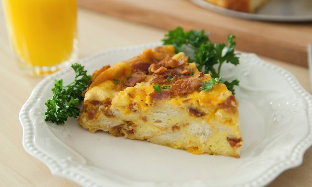 bacon egg cheese breakfast strata - Cheese Egg Strata