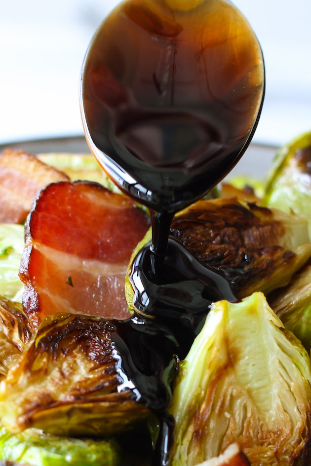 Brussels sprouts and bacon drizzled with Balsamic glaze