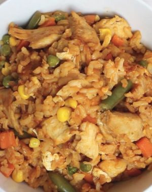 This Buffalo Chicken Fried Rice recipe is easy and fun to make